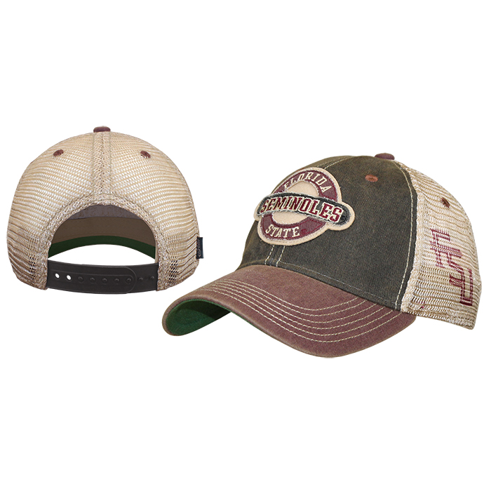 Adjustable Trucker Cap with Florida State Seminoles Patch by Legacy